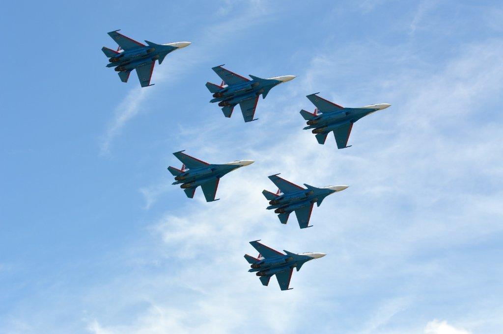 The Roosskiye Vityazi team performs on Su-30SM amd Su-35S fighters